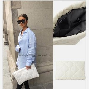 ZARA IVORY QUILTED CLUTCH BAG